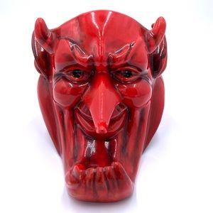 Creepy ceramic red devil vase